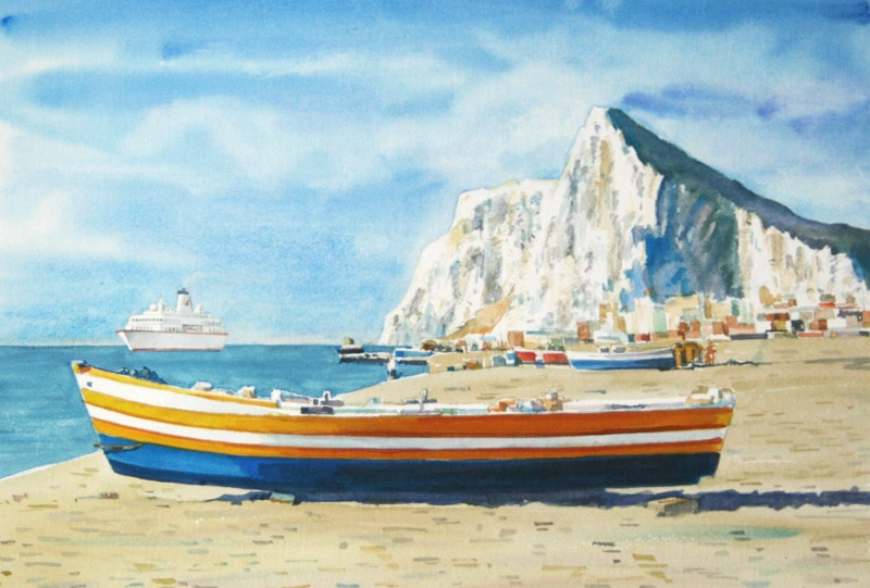 Boat on Beach - Rock of Gibraltar
